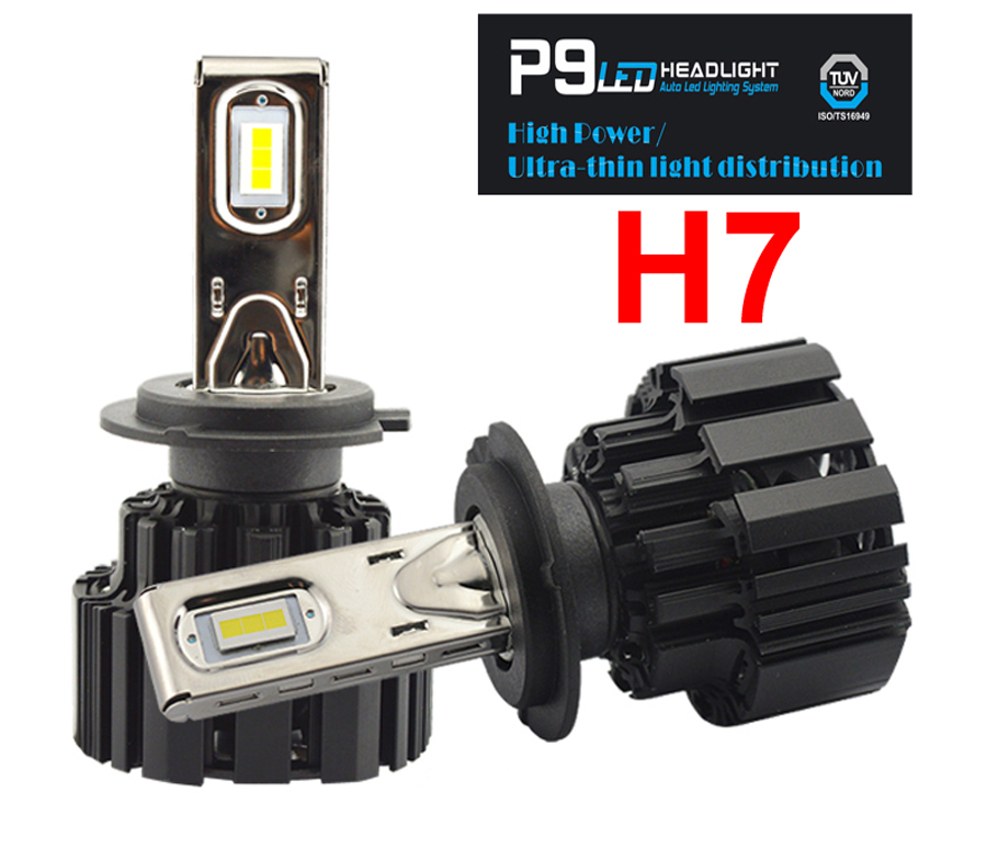 1 Set H7 100W 13600LM P9 LED Headlight 2.5MM Ultra Thin No Blind FLIP Chips Power White 6000K All-in-one Driving Car Lamps Bulbs