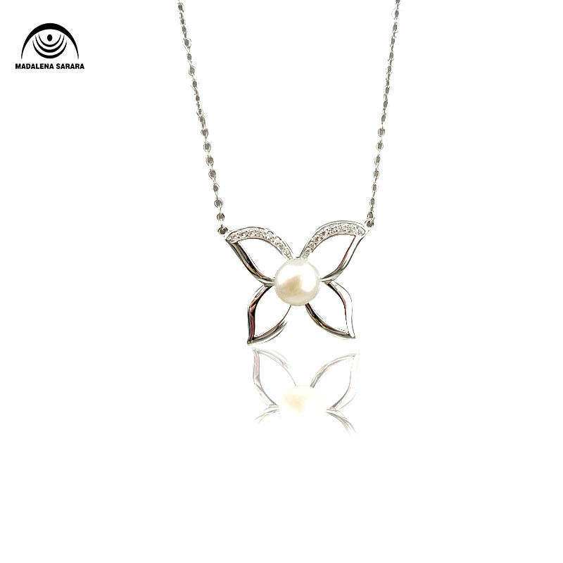MADALENA SARARA S925 AAA Freshwater Pearl Inlaid Pendant Sterling Silver Chain Necklace AAAA Zircon Inlaid Butterfly Style in Pendants from Jewelry Accessories