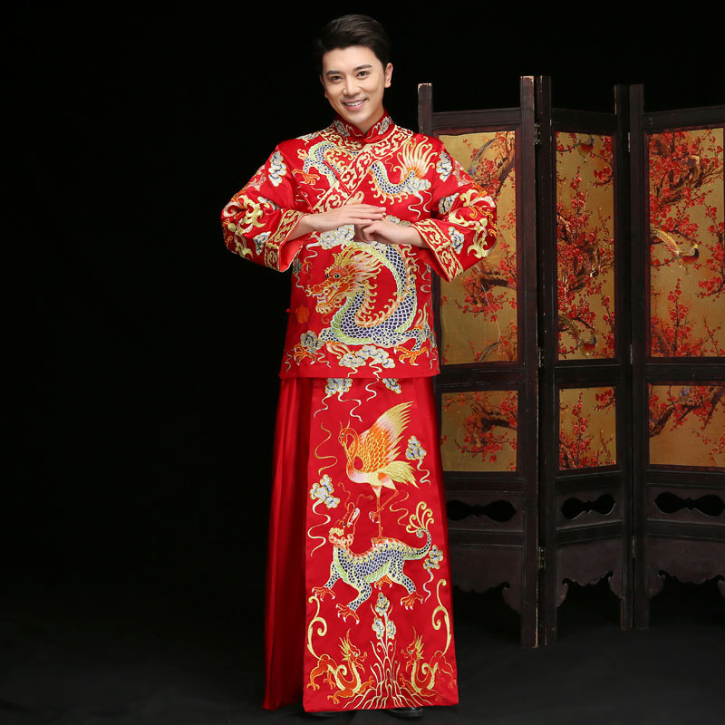 Groom Traditional Evening Gown Qipao Wedding Embroidery Plus Size