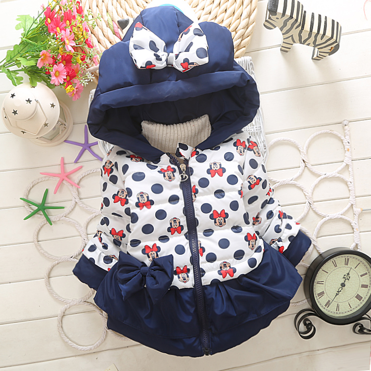 New Baby Boys Girls Minnie Coat Kids Cotton Warm Winter Jacket Chirdren Character Lovely Hoodies Outerwear For 1-4 Years Old