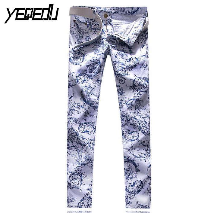 #3419 Casual Mens printed jeans Fashion Stretch jeans men Fashion Hip hop Punk Jeans hommes Mens designer clothes Pantalon homme adriatica 3419 r173qfz