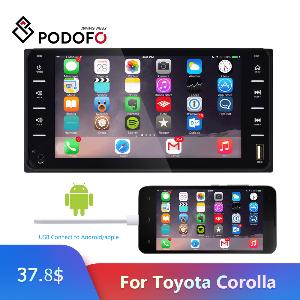 Podofo 2 Din Autoradio universel voiture lecteur multimédia 7 pouces Autoradio miroir lien Bluetooth USB Audio Radio stéréo pour Toyota