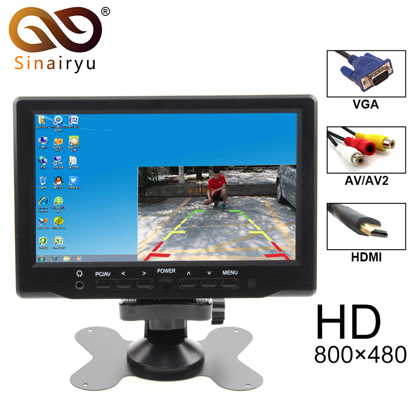 2018 New 7 Inch 800x480 TFT Color LCD Car Video Parking Monitor With HDMI VGA AV Input CCTV Security Monitor + Remote Control 7inch 800x480 lcd monitor with hdmi vga av input signal for bus and desk monitor