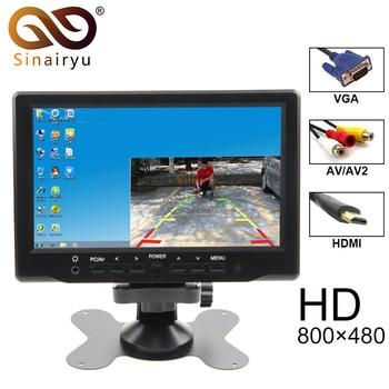 2019 nuevo 7 pulgadas TFT-LCD a Color de 800x480 de Video del coche Monitor de aparcamiento con HDMI VGA AV de entrada CCTV monitor de seguridad + Control remoto