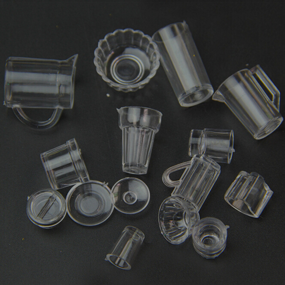 15pcs/set Cup Set Mini Plastic Doll House Miniatures Tableware Drink Wine Bottles Goblets Beer Plates Accessories