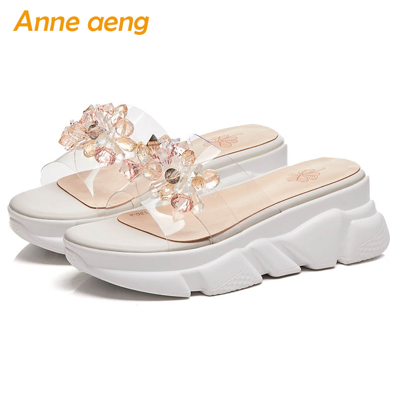 2019 New Summer Genuine Leather Outside Women Slippers High Wedge Heel Crystal Fashion Women Platform Shoes