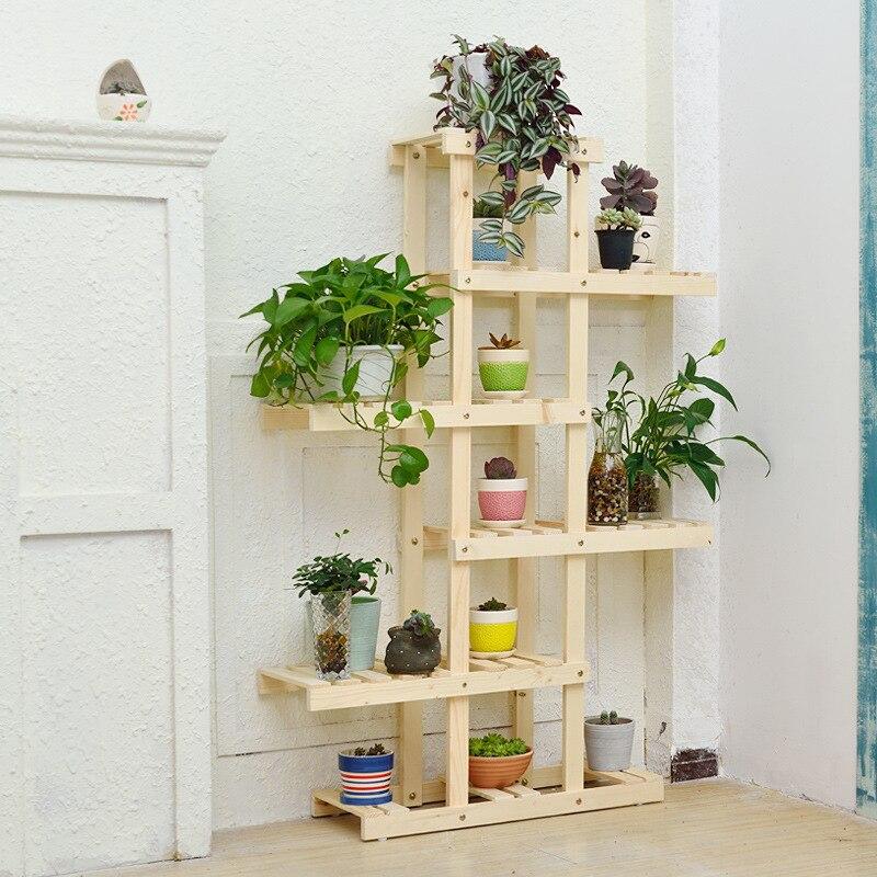 Multilayer Frame Solid Wood Shelf Cube For Pot Culture Or Other Plants