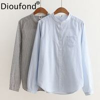 Dioufond Newest Cotton Blue Striped Women Blouses Casual Stand Collar Tops Female Long Sleeve Spring Striped