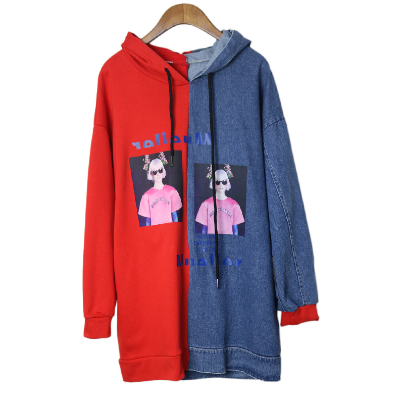 2018 Harajuku Spring Long Sleeve Color Patchwork Women Hooded Hoodies Cotton Denim Fashi ...