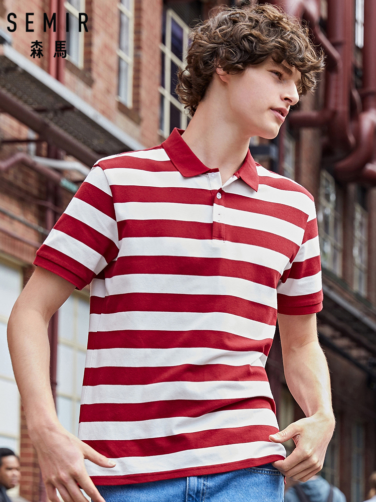 SEMIR Men   Polo   Collar Short Sleeve Shirt 2019 Summer New Korean Striped Sea Soul   Polo   Shirt Student Tide
