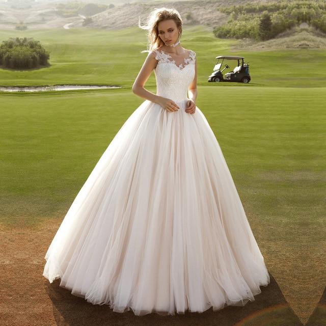 Cheap White Appliques Princess Ball Gown Wedding Dresses 2017 ...
