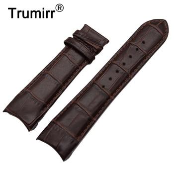 Gebogen End Lederen Horlogeband 22mm 23mm 24mm voor Tissot Couturier T035 Horloge Band Stalen Gesp pols Armband Bruin