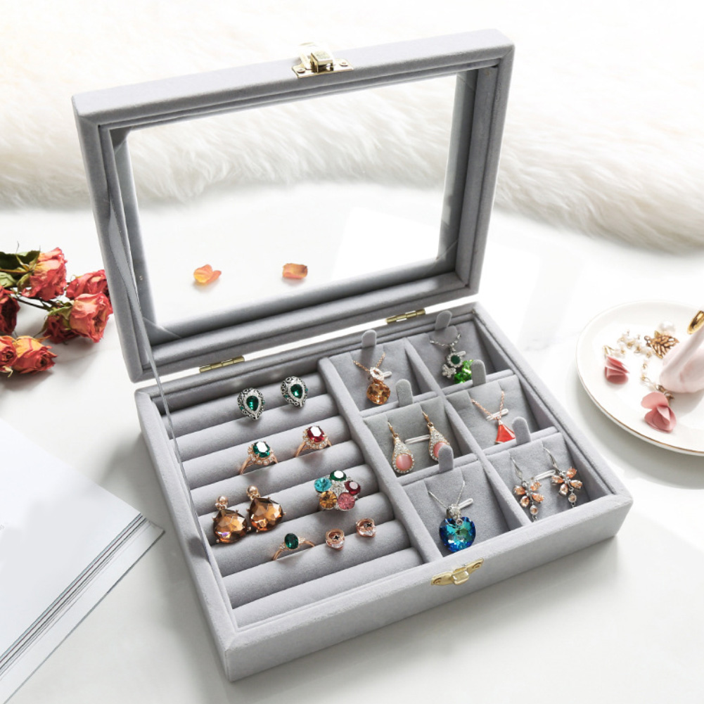 Box-Holder Display-Organizer Glass Package-Cases-Display Storage-Boxes Jewelry Velvet