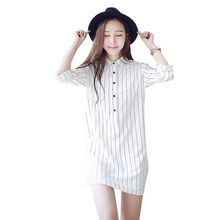 2018 New Black White Stripe Shirt Dress Women Turn Down Collar Mini Dress Elegant Long Sleeve Slim Women Office Dress H7(China)