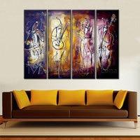 Handgeschilderde Abstract Wall Art muisian muziek party Foto 4 Stuk abstract Canvas Olieverf Moderne Decoratie Thuis