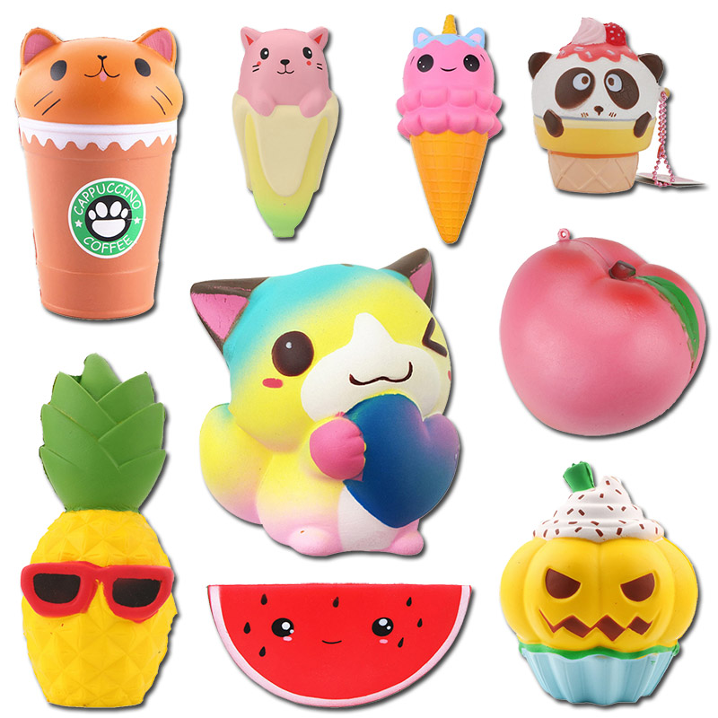 Squishy Toy Bread Strawberry Popcorn Hamburger Unicorn Rilakkuma Hamster Dog Duck Frog Slow Rising Squeeze Kids Toys Boys Girls