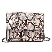 Small Snake Print Shoulder Bag Flap Messenger Handbags for Women Leather Chain Crossbody Bags Bolsas Feminina Mujer Sac A Main
