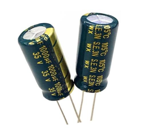 FlashingGoldUniverse 35V 1000UF 1000UF 35V 1000uf35v 35v1000uf  Power Supply Special High-frequency Crystal 100pcs Size:10*20MM