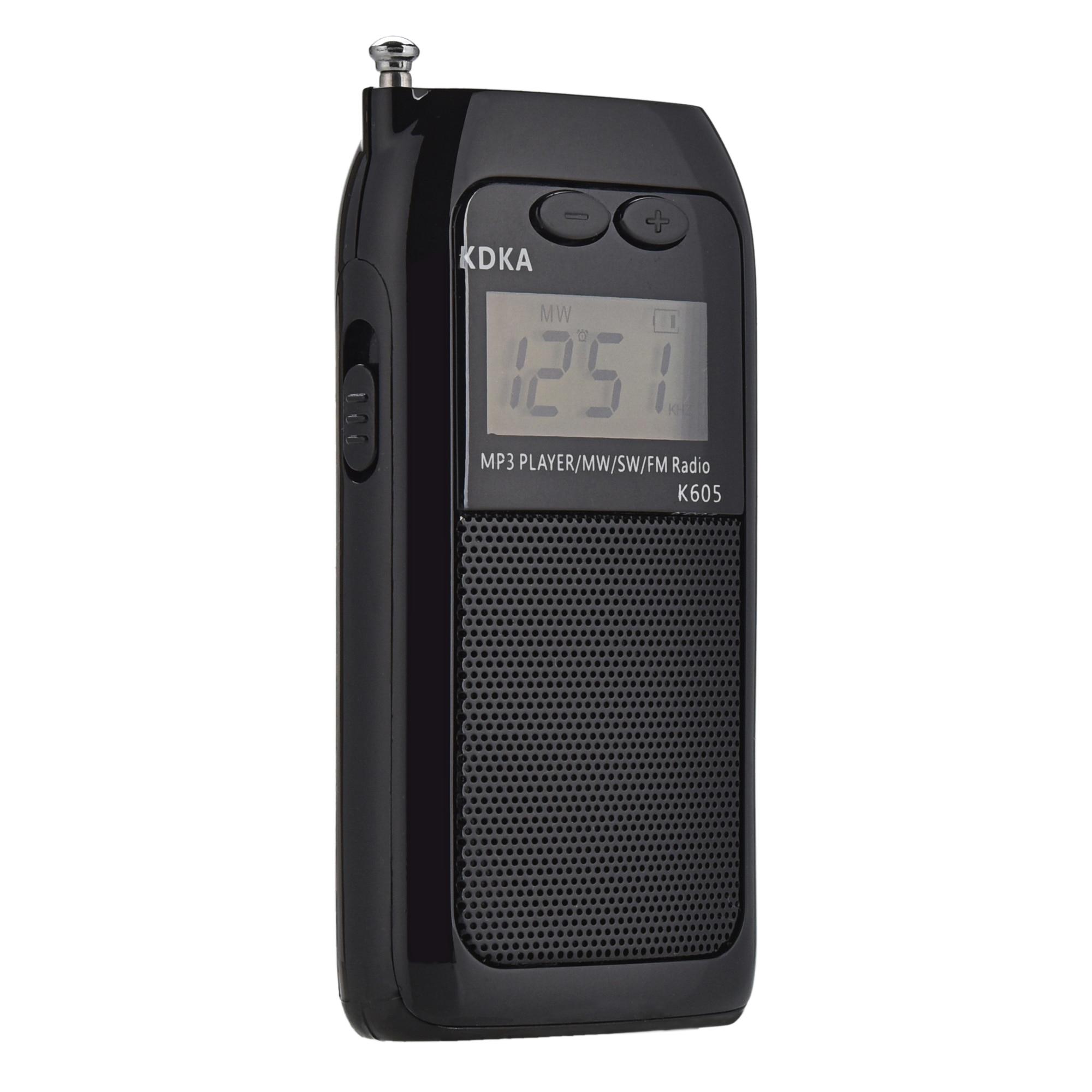 K605 Mini Tasche Radio STEREO FM AM SW MW Digitales Tuning Radio Empfänger MP3 Musik Player Akku Tragbare Radio