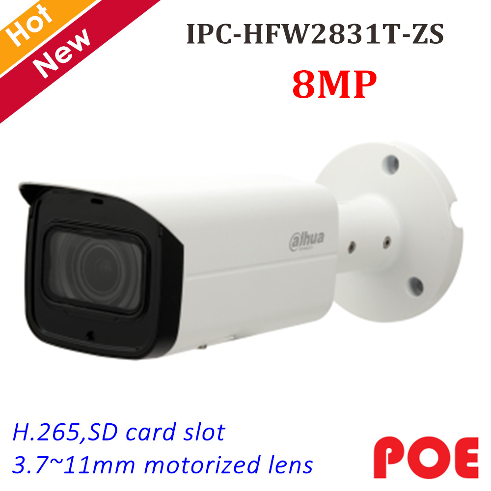Dahua 8MP IP Camera IPC-HFW2831T-ZS IR Bullet Security Camera 3.7~11mm Motorized Lens Support SD Card 128g and POE IP cam SystemDahua 8MP IP Camera IPC-HFW2831T-ZS IR Bullet Security Camera 3.7~11mm Motorized Lens Support SD Card 128g and POE IP cam System