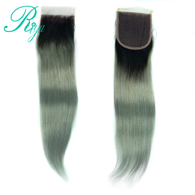 Hair Extensions & Wigs Human Hair Weaves Riay Hair 1b Ocean Blue Ombre Brazilian Body Wave Hair 13x4 Lace Frontal Ombre Closure Black Root Remy Hair