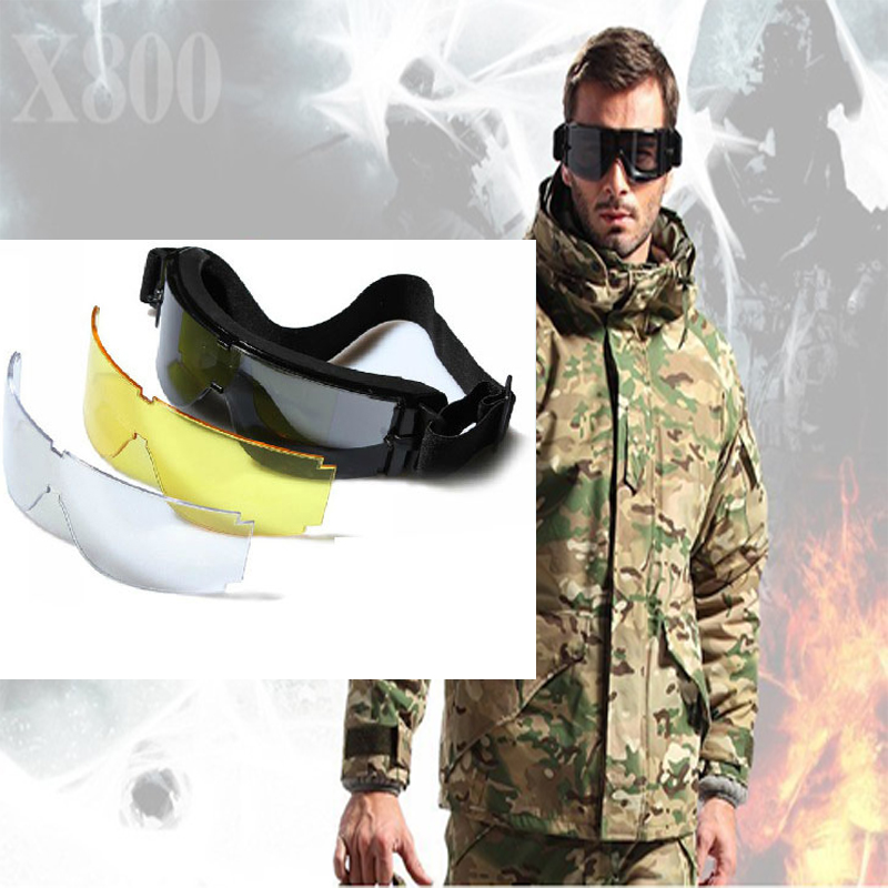 Hot ! Tactical X800 Safety Goggles Military Outdoor Hunting Glasses Shooting Glasses Airsoft War Game Tactical Goggles