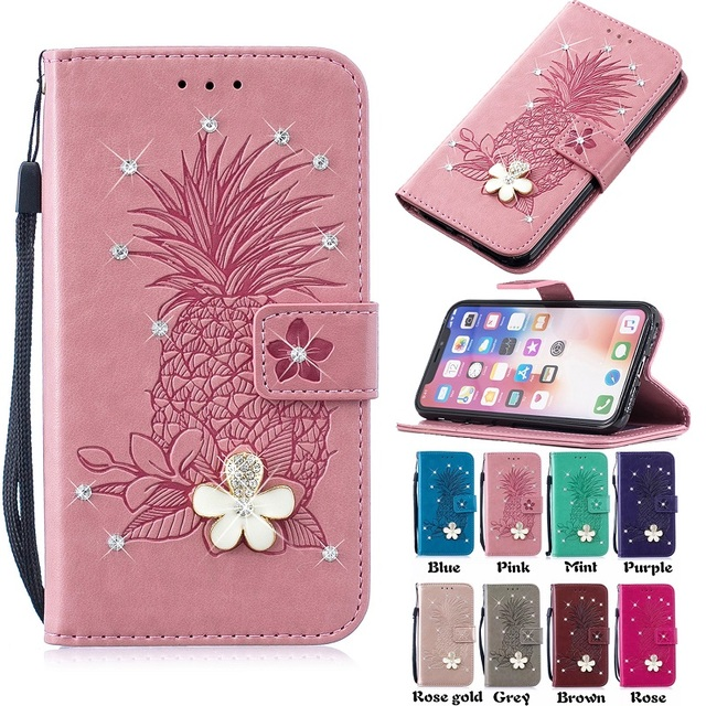 3D Diamond Pineapple Wallet Leather Pouch Case For Samsung Galaxy S10 PLUS S10E S6 EDGE S7 S8 S9 Stand ID Card Cover
