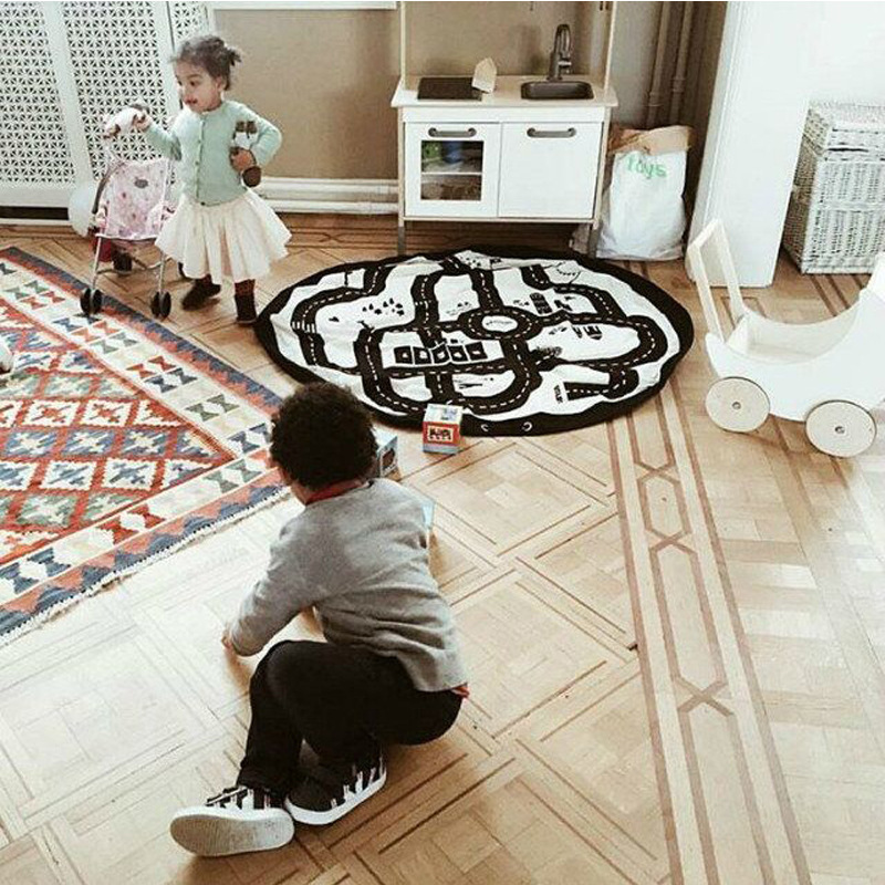 Baby New Style Play Mat Round Road Play Mat Activity Soft Cotton Floor Carpet Exploring Crawling Play Rug for Kids Infant Gift