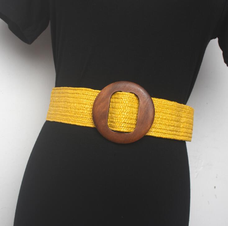 Women's Runway Fashion Round Buckle Knitted Cummerbunds Female Dress Corsets Waistband Belts Decoration Wide Belt R1535