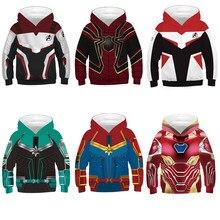 Новые детские толстовки с капюшоном, Мстители, эндгейм 4, Человек-паук, косплей, худи для мальчиков и девочек, 3D Рисунок, квантовое царство, костюмы, спортивные топы