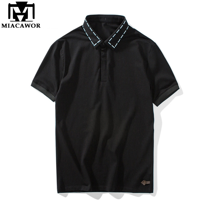 MIACAWOR 2019 New Summer   Polo   shirts Men Fashion Design Short-sleeve Business Homme Casual Men Camisa Tops & Tees MT603