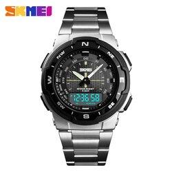 Azul del reloj SKMEI reloj de los hombres de moda de cuarzo relojes deportivos de acero inoxidable para hombre relojes superior de la marca de lujo de negocios muñeca impermeable reloj de los hombres