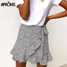 Aproms мульти точка печати Короткие мини-юбки женские летние рюшами Высокая талия с бантом галстук юбка дамы уличная тонкий низ Saias