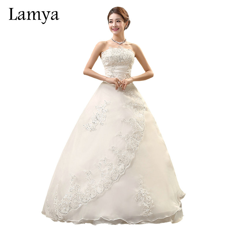 Real Simple Weddings Magazine 2018: LAMYA Real Photo Customized Princess Lace Wedding Dress