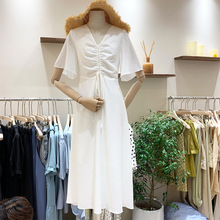 summer spring 2019 new women dress short sleeve v neck lace up pleated ladies dresses solid A line casual knee-length vestidos new spring summer women blouse short sleeve deep v neck hollow out lace up ladies dresses solid white casual cotton vestidos