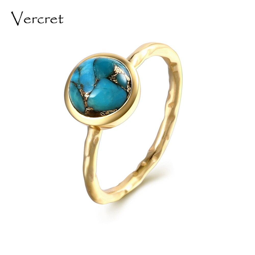 Vercret délicat turquoise anneaux fait à la main 925 en argent sterling 18k bague en or bijoux fins pour les femmes cadeaux
