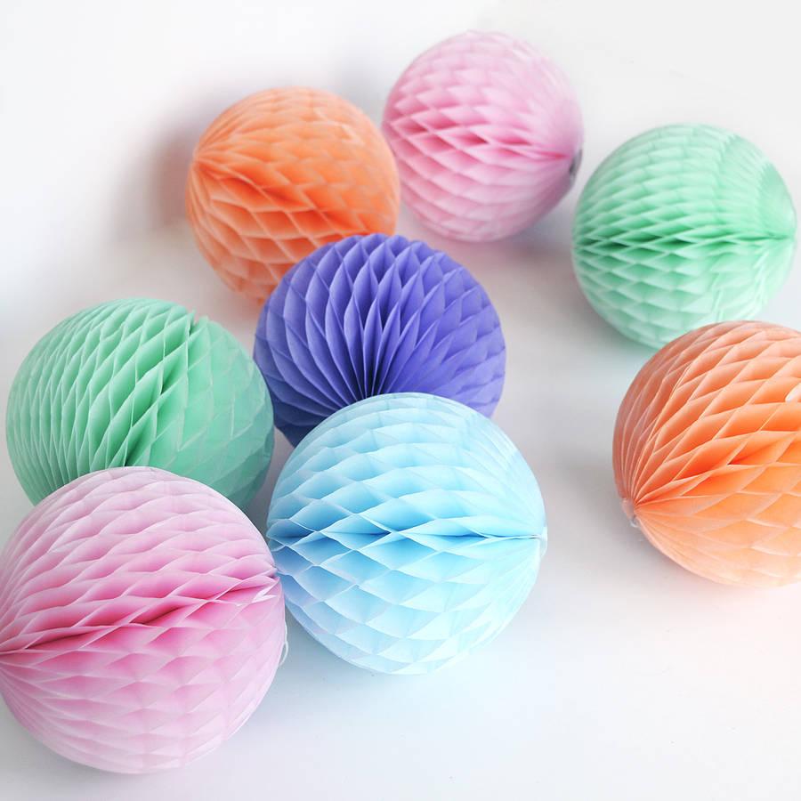 615cm Honeycomb Flowers Paper Balls Various Color Hanging