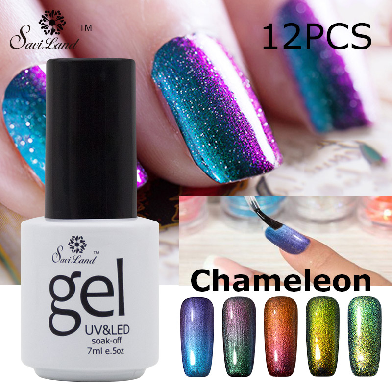 saviland 12pcs soak gel nail chameleonic gel nail 24 colorful vernis permanent