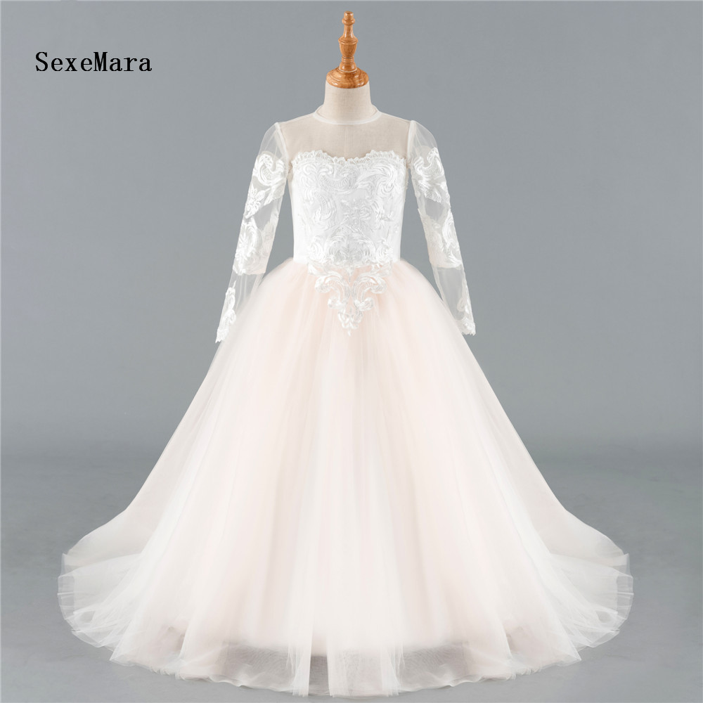 Real Pictures Tulle Flower Girl Dress For Wedding Customized First Communion Gowns Sheer Neck and Back Covered with Buttons LongReal Pictures Tulle Flower Girl Dress For Wedding Customized First Communion Gowns Sheer Neck and Back Covered with Buttons Long