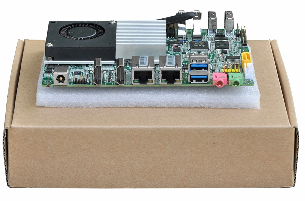 Hot sale Mini PC Board Celeron 3215U Desktop Low Power Mini motherboard 6*COM Dual Lan Three  Display GPIO 3 5 fan car mini motherboard low power consumption e450 motherboard dual network card