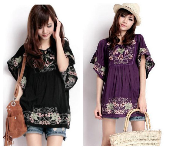Винтаж 70s деревенском стиле вышитые Мексиканская Платье в богемном стиле с длинным Vestidos Женская хлопковая блуза 11 видов цветов L размера плюс футболки;