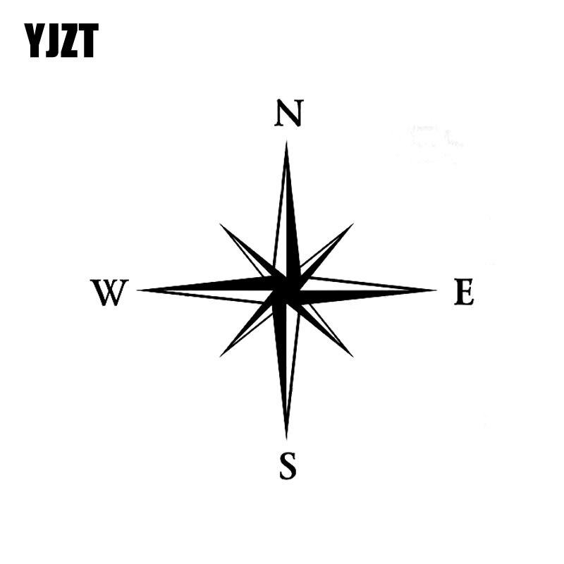 YJZT 12,7 см * 12,7 см компас Наклейка Виниловая пленка для оклеивания автомобилей, Стикеры художественное оформление черный, серебристый цвет ...