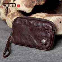 AETOO Vintage leather long hand bag cowhide zipper wallet head layer cowhide mobile phone bag
