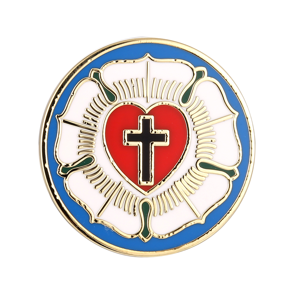 US $4 97 28% OFF|LUTHER ROSE SEAL LUTHERAN CHURCH SYMBOL CROSS HARD ENAMEL  ART LAPEL PIN and CUFF LINKS SET-in Pins & Badges from Home & Garden on