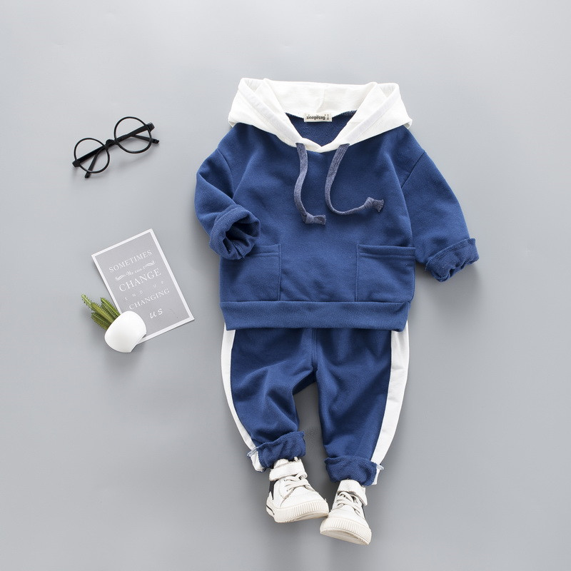 0-4 years High quality boy girl clothing set 19 new spring sport active solid kid suit children baby clothing Hoodies+pant 5