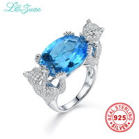 L Zuan Sterling Silver Jewelry Ring Natural 16 2ct Topaz Blue Stone Prong Setting Rings 925