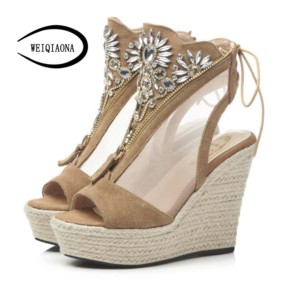 WEIQIAONA New Fashion Women shoes Sexy Crystal Wedges heels Platform Genuine leather Mesh Sandals Front zipper High Heel Pumps weiqiaona european 2018 women new fashion show leather snake skin rhinestone flowers high heel sandalss sexy ladies party shoes