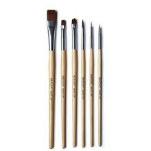 hot deal buy 6pcs/set eyeliner blush makeup brushes painting face paint brush set maquiagem tools wooden handle cosmetics body painting.