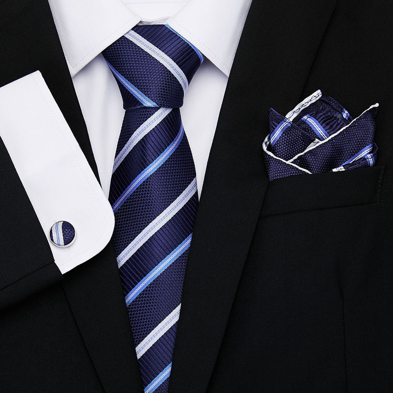 Vangise New Striped Tie Luxury Silk Ties for Men 145cm long High Quality Mens Cravata  8cm Wide Male Neck