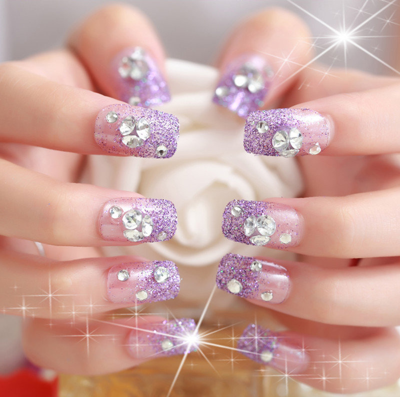 Violet Glitter False Nails Rhinestone Decorated Bridal Elegant Manicure Patches Designer Short Nail Tips 24pcs In From Beauty Health On